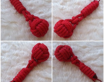 Large Rope Mace Flogger in Red