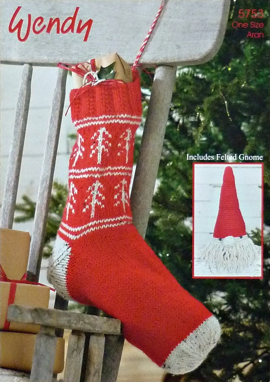 Christmas Knitting Pattern W5753 Christmas Stocking and Gnome Decoration Knit...