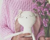 Benita the bunny handmade doll, softie, easter gift, nursery room decoration, bunny rag doll, birth gift, cloth doll, childrens doll