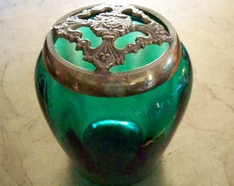 FENTON EMERALD Green Glass Flower Arranger Jar With Brass Trim Lid Floral Jar Vase