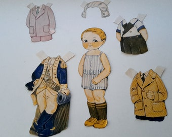Original 1930's Paper Dolls Various Clothing 36 PIeces Costumes Holiday Clothes Girls and Boy Doll Bonus