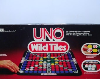 Vintage Uno Wild Tiles Board Game 1982