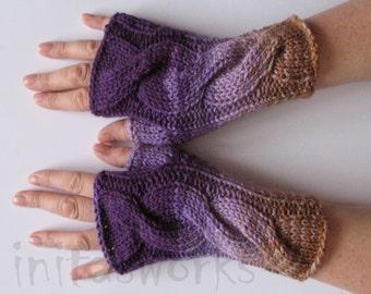 Fingerless Gloves Violet Purple Beige Brown wrist warmers