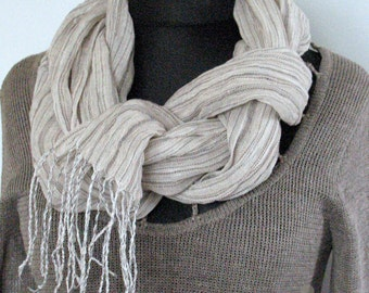 Natural Linen Scarf Striped Unisex Washed White Gray Shawl