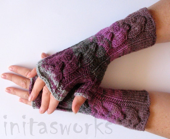 Fingerless Gloves Mittens wrist warmers Violet Purple Pink Gray Dove