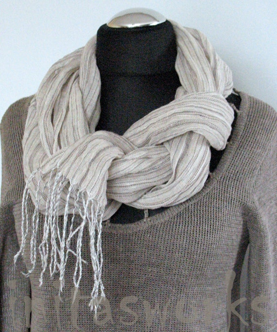 Natural Linen Scarf Striped Unisex White Gray Shawl