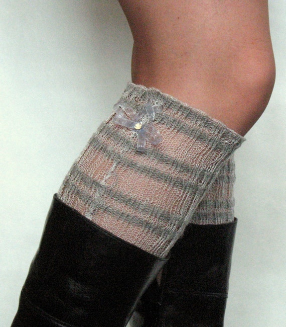 Lace Linen Boot Cuff Boot Toppers Striped Gray Pigeon Boot Socks Leg Warmers Legwarmers Cable Knitted