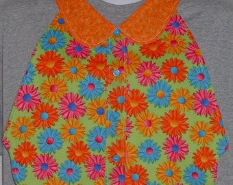 Womens Adult Bib / Special Needs Bright Colorful Daisy on Lime Green Print Shirt Front Bib