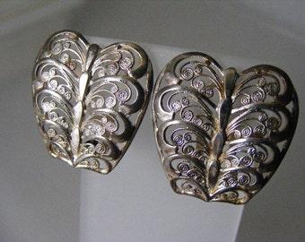 Antique German Filigree Sterling Silver Earrings  Lot 3473