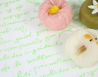 Green French Handwriting Print Wax Paper Baking Cookie Sandwich Gift Wrap (25 sheets)