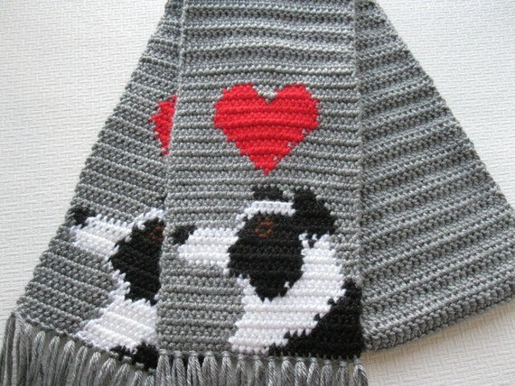 border collie scarf grey crochet scarf with border collie