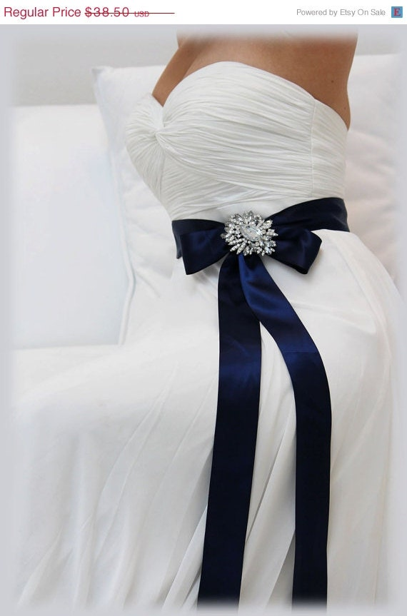 Navy blue bridal sash crystal sash ribbon sash by glamduchess for Blue sash for wedding dress