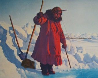 "Fred Machetanz ""Winter Harvest"" Limited Edition Alaskan Artist Lithograph / Eskimo Fishing / Alaska"