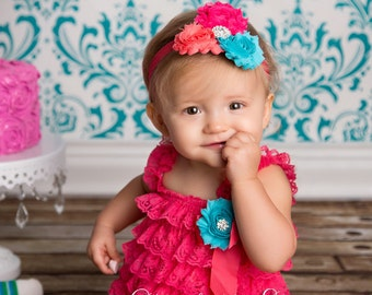 Baby Girl Outfit - Ruffle Rompers - Baby Romper - Coral Romper - Baby Girl 1st Birthday Outfit - Cake Smash Outfit - Baby Girl Cake Smash