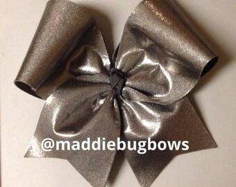 Metallic Gray Cheer Bow
