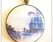 """Japanese Asian Landscape Atmospheric Vintage Print Pendant. Ink Blues. Organza ribbon or antique brass 19"""" chain and clasp."""