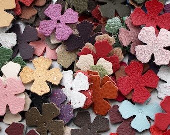Leather flower die cuts 100 large blossoms wholesale variety of colors DIY Pet, Cat, Dog Collar Applique genuine leather