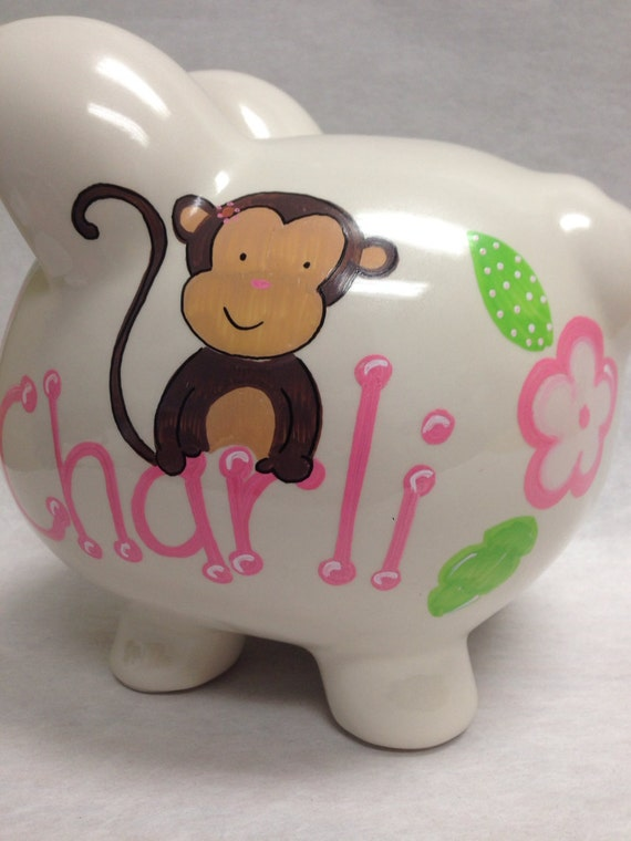 Personalized Piggy Bank Girly Monkey