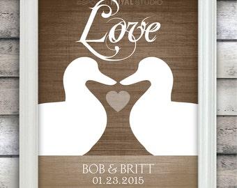 Duck Love - Woodland Rustic Wedding - Custom Date Name Print - Personalized Wedding Gift - Bridal Shower Gift - Unframed