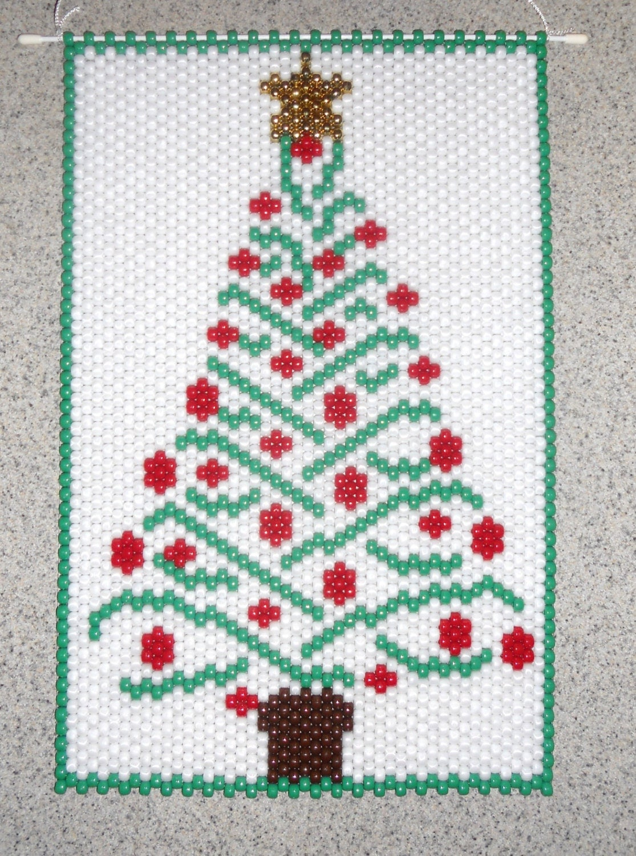 handmade beaded tree beaded banner with