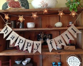 Happy Fall Burlap Bunting, Fall Bunting, Autumn Garland, Burlap Banner, Autumn Bunting, Fall Bunting, Autumn Wedding Decor