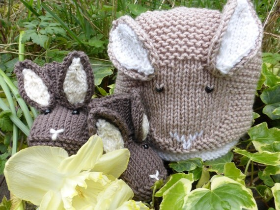 BABY KNITTING PATTERNS in pdf Baby Bunny Hat and by SleakeKnits