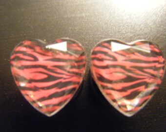 1/2 Inch Black Plugs with Zebra Print Hearts