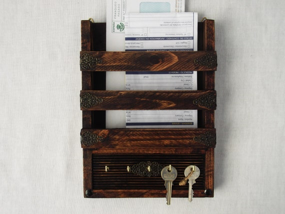 Rustic decorative mail holder and key rack wooden wall - Key and letter rack ...