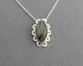 Labradorite Necklace Pendant - Retro Style Gemstone Pendant - Sterling Silver Bezel Pendant - Green Pendant
