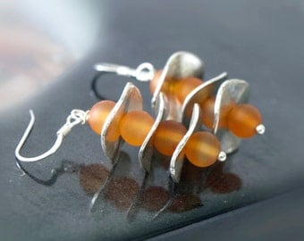 Orange  Earrings, Tangerine dangle earrings, Orange agate earrings ,gifts for her