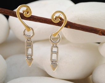 Sterling Silver and 14K Gold Dangle Earrings (L)