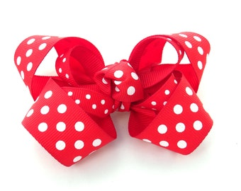 Red Bow Clip:  RED & WHITE POLKADOT Double Boutique Bow - Available With Free Headband