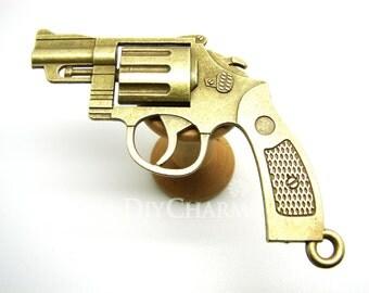 Antique Bronze Tone Revolving Pistol Large Gun Super Cool Charms 51x71mm - 2Pcs - DC00158