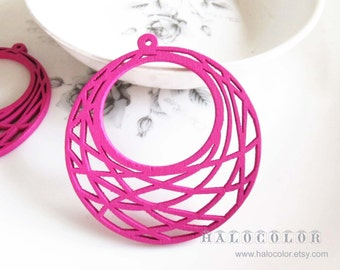 Painting Series  - 48x51mm Pretty Hot Pink Round Geonetry Wooden Charm/Pendant MH243 06