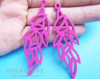 Painting Series - 19x58mm Pretty Hot Pink Leaves Wooden Charm/Pendant MH205 06