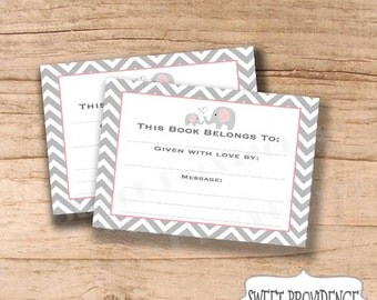 Baby Shower Bookplate Card INSTANT DOWNLOAD / Bookplate Printable Sheets / Chevron Bookplate / Pink/Grey Printable Bookplate Stickers