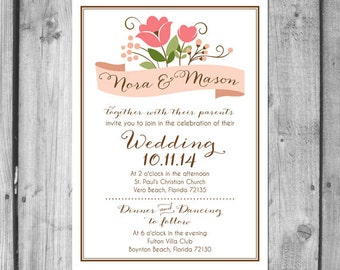 Stylized Floral Wedding Invitation Set