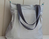 Diaper Bag Tote - MADE TO ORDER - Dark Grey and White Stripes - Spoonflower Canvas - Large - Zipper, adjustable strap, tote handles
