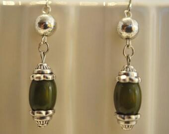 Handmade Vintage Avacado and Silver Earrings
