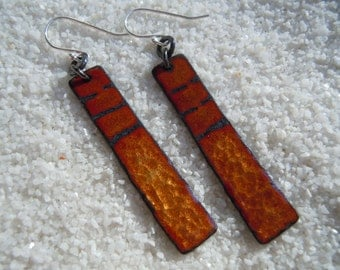 Brown Earrings | Enamel Jewelry | Enamel Earrings | Copper Enamel | Artisan Jewelry