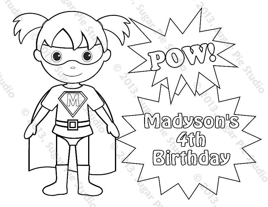 Personalized Printable SuperHero Super Hero Girl Birthday