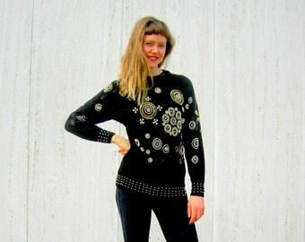Vintage black sweater beaded sequins