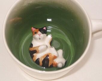 Animal Coffee Mug, Calico Cat Surprise Mug (Made to Order)