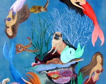 "Pug Dog Art Print of an original oil painting -""Little Molly Mopsmaid""/mermaid/8 x 10/ Dog Art"