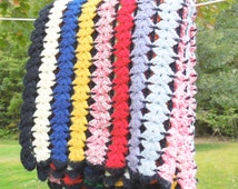 "Vintage crochet afghan blanket throw in colorful stripes with black border 53"" x 47"""