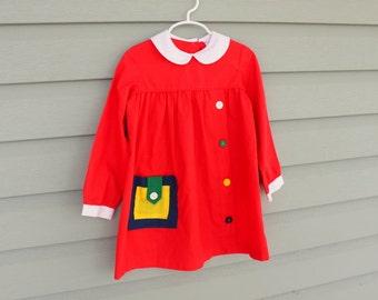1960s mod retro red dress. Girls size 6