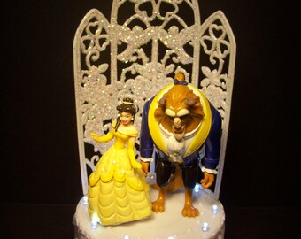 Disney Beauty and the Beast Bride and Groom Fairy Tail WEDDING CAKE TOPPER W/Lights Clear Funny
