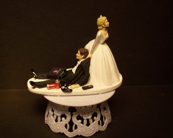 Gamer No TV Video Game Bride and Groom Wedding Cake Topper Funny X1