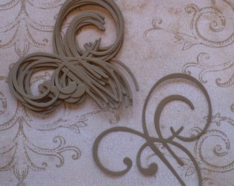 Sizzix Accent Swirl Die Cut /  pieces for Crafts Scrapbook from Kraft Cardstock