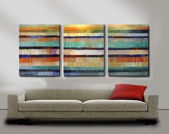 ORIGINAL PAINTING Abstract 30x72 Large 3 Canvas Ready to Hang Art  by Thomas John